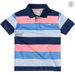 Camisa Polo Listrada Azul e Rosa Milon