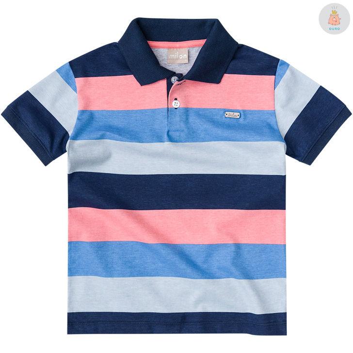 b73305e850 Camisa Polo Listrada Azul e Rosa Milon – Pig Pega