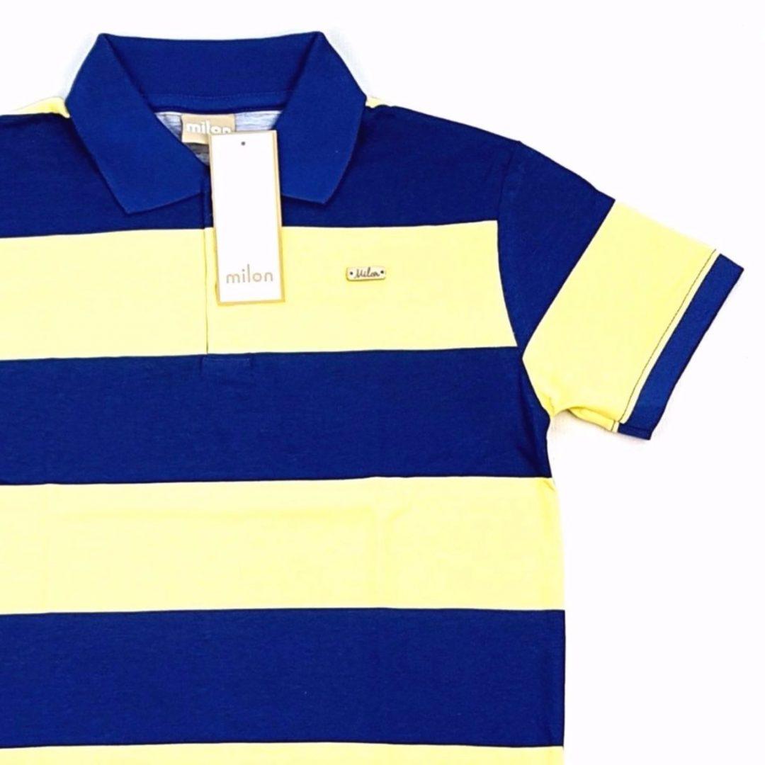 Camiseta Polo Listrada Azul e Amarela Milon – Pig Pega db8dee90fcee8