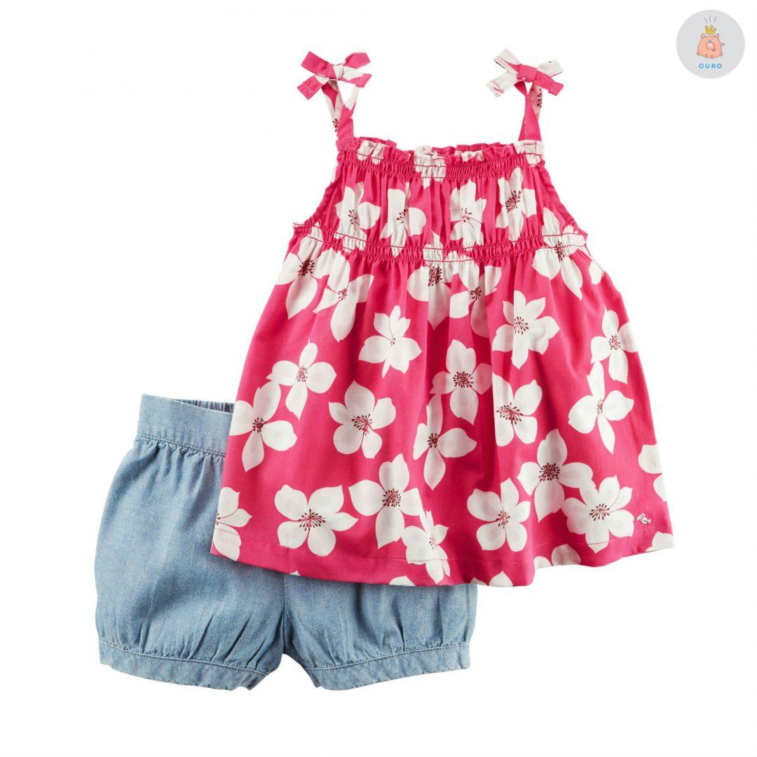 984e2a085f Conjunto Blusa Flores e Short Jeans Carter s – Pig Pega
