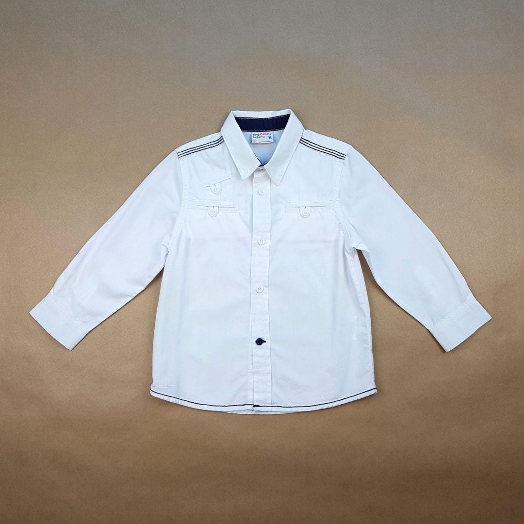 6beda8d0da Camisa Manga Longa Branca com Azul Pré Natal – Pig Pega