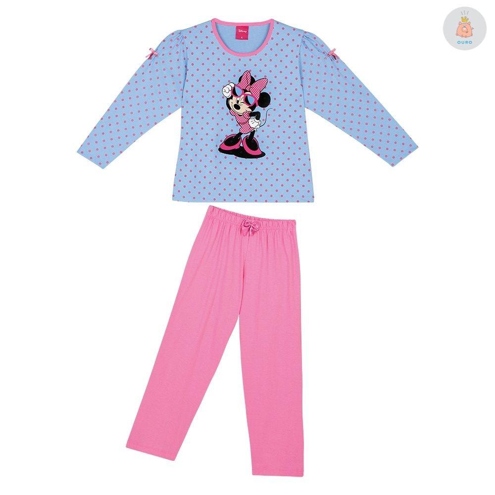 dd6f33346cf728 Pijama Disney Minnie Manga Longa Rosa Lupo