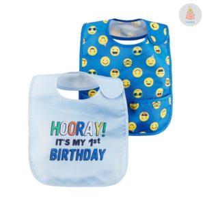 Babador Emojis e Aniversário kit 2 peças Carter's