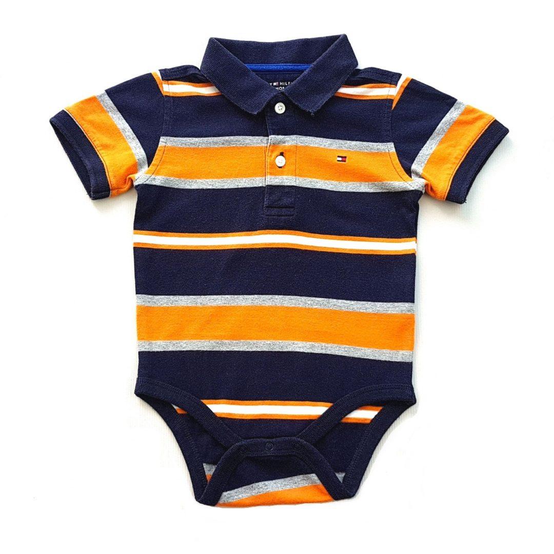 Body Polo Listrado Azul e Laranja Tommy Hilfiger – Pig Pega 3a7a7c231b486