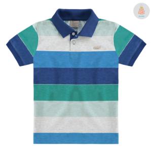 Camisa Polo Listrada Azul e Verde Milon 6023ef49f2783