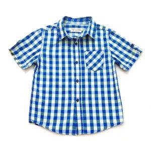 Camisa Manga Curta Azul e Verde Zara