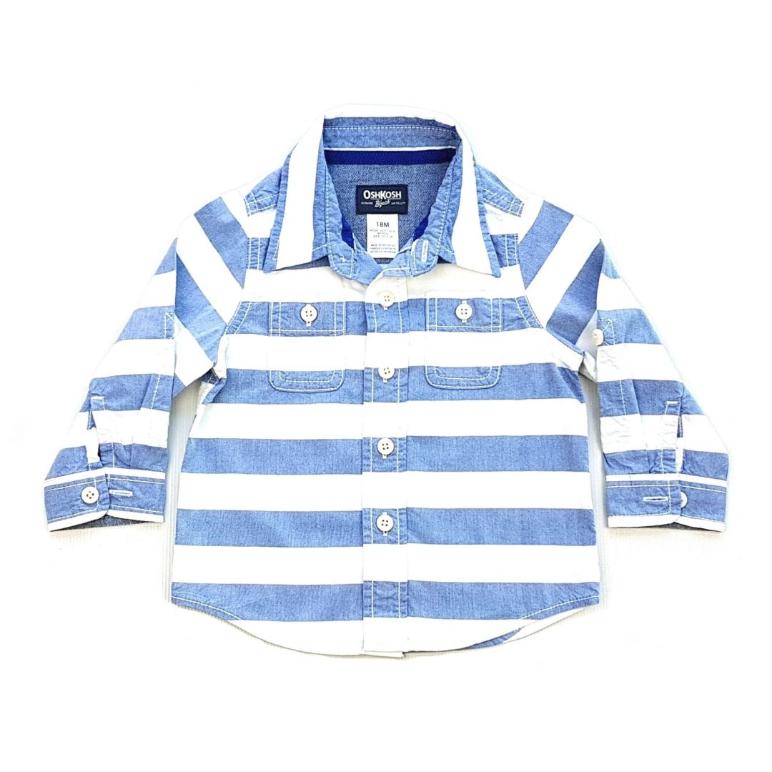 Camisa Listrada Azul e Branca OshKosh B Gosh – Pig Pega 2578ca83415e7